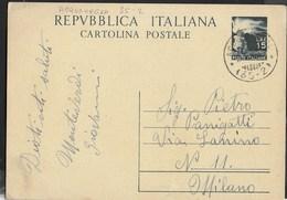 STORIA POSTALE REPUBBLICA - ANNULLO FRAZIONARIO CSLR ACQUANEGRA (32-02) 28.03.1950 SU INTERO DEMOCRATICA LIRE 15 - 6. 1946-.. Repubblica