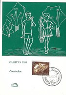 3.12.1954  -  Caritas Timbre 1954 Eimaischen( Luxembg ) - Cartes Maximum