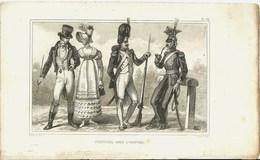 Gravure Ancienne Costumes Sous L'Empire Napoléon Bonaparte Soldat Militaria Militaire Armée Fusil Arme - Vieux Papiers