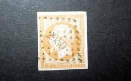 FRANCE 1853 N°13I OBL. LOSANGE PC 2950 (NAPOLÉON III. SECOND EMPIRE. 10C BISTRE. LÉGENDE EMPIRE FRANC. NON DENTELÉ. TYPE - 1853-1860 Napoléon III