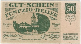 Austria (NOTGELD) 50 Heller Erlauf 5-4-1920 Kon 181 A.3 UNC - Austria