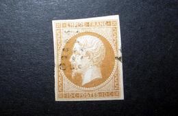 FRANCE 1860 N°13II OBL. (NAPOLÉON III. SECOND EMPIRE. 10C BRUN CLAIR. LÉGENDE EMPIRE FRANC. NON DENTELÉ. TYPE II) - 1853-1860 Napoleon III