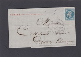 LAC   GC  2706  DEPART NUITS-COTE-D'OR Pour GEVREY-CHAMBERTIN   25 MAI 1869   + N° 22  - REF ACDIV - 1863-1870 Napoleon III With Laurels