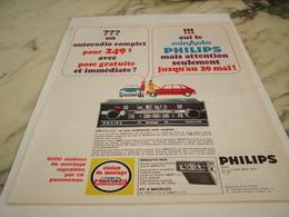 ANCIENNE   PUBLICITE AUTORADIO PHILIPS 1967 - Tabac (objets Liés)