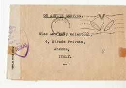 3818 ON ACTIVE SERVICE - CENSOR - TO ANCONA ITALY WITHOUT TEXT 00 - 1902-1951 (Re)