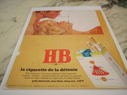 ANCIENNE PUBLICITE CIGARETTE DE DETENTE  HB 1967 - Tabac (objets Liés)
