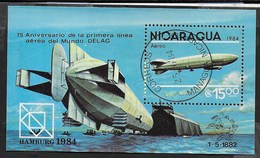 NICARAGUA - 1984 - 75° PRIMA LINEA AEREA - FOGLIETTO USATO (YVERT BF 166 - MICHEL BL 158) - Automobili