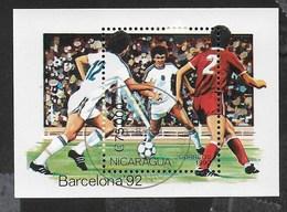 NICARAGUA - 1990 - GIOCHI OLIMPICI ESTIVI BARCELONA  '92 - CALCIO - FOGLIETTO USATO (YVERT BF 197 - MICHEL BL 191) - Estate 1992: Barcellona