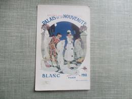 CPA 75 PARIS ILLUSTREE PUBLICITE PALAIS DE LA NOUVEAUTE MAGASINS DUFAYEL BLANC 1918 ARLEQUIN COLOMBINE PIERROT - France