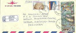 UAE (UNITED ARAB EMIRATES)  1994  REGISTERED   AIRMAIL  COVER   TO PAKISTAN . - Emirati Arabi Uniti