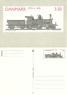 Denmark  1991 Locomotiv, Railway, Train, Litra A 1882, With Imprinted Stamp Unused Card - Danimarca