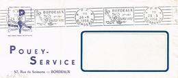 France. Bordeaux.1958. Flamme. Machine RBV. Port Payé. Grands Vins. - Oblitérations Mécaniques (flammes)