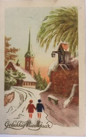 (526) Gelukkig Nieuwjaar - Twee Kinderen Gaan Naar De Kerk  - Kapelletje Met Lantaarn. - New Year