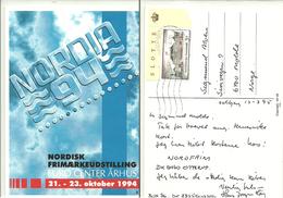 Denmark  1994 Card For Nordisk Frimærkeutstilling Euro Center Århus, Amalienborg Stamp  Cancelled - Danimarca