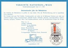 VEREINTE NATIONEN WIEN 1981 - 6 S Int.Jahr D.Behinderten Auf Zugehöriger Karte - Sonstige - Europa