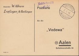 FrzZone  Gebühr Bezahlt 6 Rpf., Barfrankatur MiNr. B 15a: Erpfingen 2.1.1946 - Zone Française