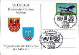 """(FC-3) BRD Sonder-Karte """"Bundeswehr-Garnision Iserlohn-Truppendienstliche Fachschule Der LUFTWAFFE"""" SSt 9.6.79 ISERLOHN - BRD"""