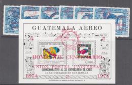 GUATEMALA - 1974-UPU OVERPRINTS SET OF 6 + S/SHEET  MINT NEVER HINGED - Guatemala