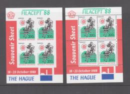 INDONESIA  - 1988- HAGUE PHILATELIC EXHIBITION S/SHEETS PERF & IMPERF  MINT NEVER HINGED ,SG CAT £88 - Indonesia