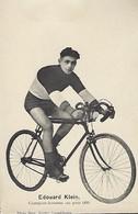 EDOUARD KLEIN - CHAMPION - AMATEUR SUR PISTE 1923 - PHOTO BERN KUTTER,LUXEMBOURG - Cyclisme