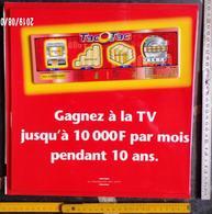 FDJ - F.D.J. FRANÇAISE DES JEUX PUBLICITÉ TAC AU TAC GRATTAGE PLV PLASTIFIÉE PORTE ENTRÉE MAGASIN RECTO VERSO - Serbon63 - Publicités