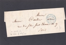 LAC  Précurseur  PARIS Pour PARIS   1838   + Cachet  2505    - REF ACDIV - Marcophilie (Lettres)