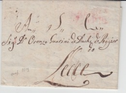 USED LETTER 02/04/1819 NAPOLI LECCE MARQUE ROUGE - 1. ...-1850 Prephilately