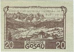 Austria (NOTGELD) 20 Heller Gosau 8-5-1920 Kon 251 A.3 Escritura Marrón UNC - Austria