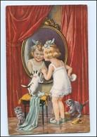 Y10641/ Kind Mädchen Katzen Spiegel AK Ca.1912 - Gatti