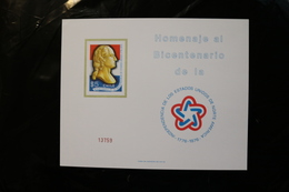 Chile BICENTENARY OF THE UNITED STATES INDEPENDENCE 1776 TO 1976 PRESIDENT GEORGE WASHINGTON Card Stock1976 A04s - Chile