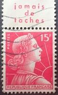 """R1591/377 - 1955 - TYPE MARIANNE DE MULLER - N°1011 ☉ Avec Bord Publicitaire """" Jamais De Taches """" - Publicités"""