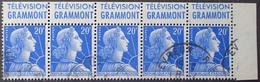 "R1591/384 - 1955 - TYPE MARIANNE DE MULLER - BANDE N°1011B (I) ☉ CdF Avec Publicité "" TELEVISION GRAMMONT "" - Advertising"