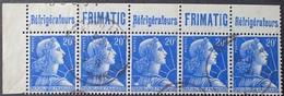 """R1591/385 - 1955 - TYPE MARIANNE DE MULLER - BANDE N°1011B (I) ☉ CdF Avec Pub """" Réfrigérateurs (point Sur T) FRIMATIC """" - Advertising"""