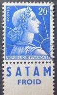 """R1591/386 - 1955 - TYPE MARIANNE DE MULLER - N°1011B (I) ☉ Avec Publicité """" SATAM Froid """" - Advertising"""