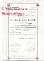 62 EME RTM LHERMENAULT MAURICE TIRAILLEUR PAR LT COL DUPAS MARRAKECH 1921 CERTIF BONNE CONDUITE 31 X 20 CM - Documenti