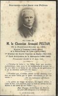 Faire Part De Déces--M Le Chamoine Peltan--Noyal Sue Seiche  Tresboeuf -Vitré - Décès