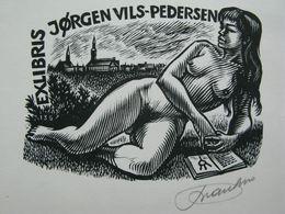 49) 1972 Original Erotic Print Exlibris Ex Libris Bookplate  Erotica Nude Curiosa Signed Frank Ivo Van Damme Belgium - Ex-libris