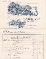 Fattura Comm. -  Grand Hotel  Axenstein  -  Lll. A. Calame  -  Edit. A. Trub  &  C°. , Aarau & Lausanne - Svizzera