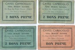 NICE Lot De 4 Bons Prime Vins Cave Caprioglio Rue Du Pont Vieux - Documents Historiques