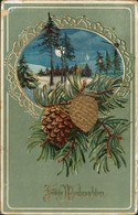 Ansichtskarte  Goldprägekarte Weihnachten - Tannenzapfen 1911 Goldrand - Anno Nuovo