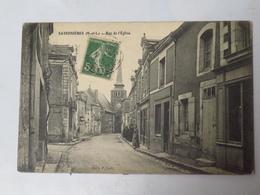 C. P. A. : 49 SAVENNIERES : Rue De L'Eglise, Animé, Timbre En 1913 - France