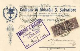 3890 SIENA COMUNE ABBADUA SAN SALVATORE  X MANCIANO - Storia Postale