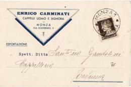 3891 MONZA CARMINATI CRIPPA CAPPELLI - Marcophilie