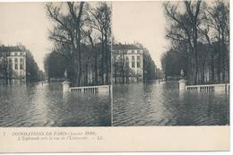 CPA N°7. Inondations De Paris (janvier 1910) L'Esplanade Vers La Rue De L'Université. Deux Vues Identiques. - Paris Flood, 1910