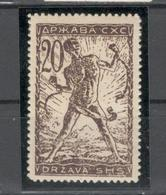 1919 S.H.S.YUGOSLAVIA -  SLOVENIA - VERIGARJI -  20 Vin.  MNH**. Dark Brown, Typography - 1919-1929 Regno Dei Serbi, Croati E Sloveni