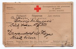 1917 WW1, AUSTRIA, SERBIAN POW, SENT TO SWITZERLAND WITH CHANGE OF ADDRESS CARD, SWISS SECTOR RED CROSS - Historical Documents
