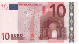 """10 EURO  """"U""""  France     Firma Trichet    L 052 A2  Ch. 89 /  FDS - UNC - EURO"""