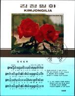 6383b) Kimjongilia FIORE FLORA Corea Blocco 1989, Flowers Timbrato, Used-USATO - Corea Del Sud