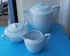 Ancien Service à Café DIGOIN SARREGUEMINES Bleus Clair : Cafetière, Sucrier, Pot à Lait - Digoin (FRA)