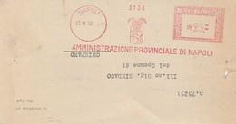 Napoli. 1953. Affrancatura Meccanica Rossa AMMINISTRAZIONE PROVINCIALE DI NAPOLI 25, Su Modulo Con Testo - Marcofilia - EMA ( Maquina De Huellas A Franquear)